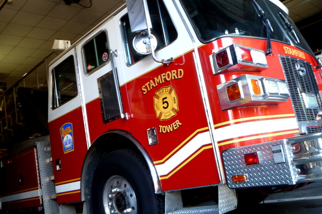 An off duty Stamford firefighter was able to save a family dog from a house fire recently.