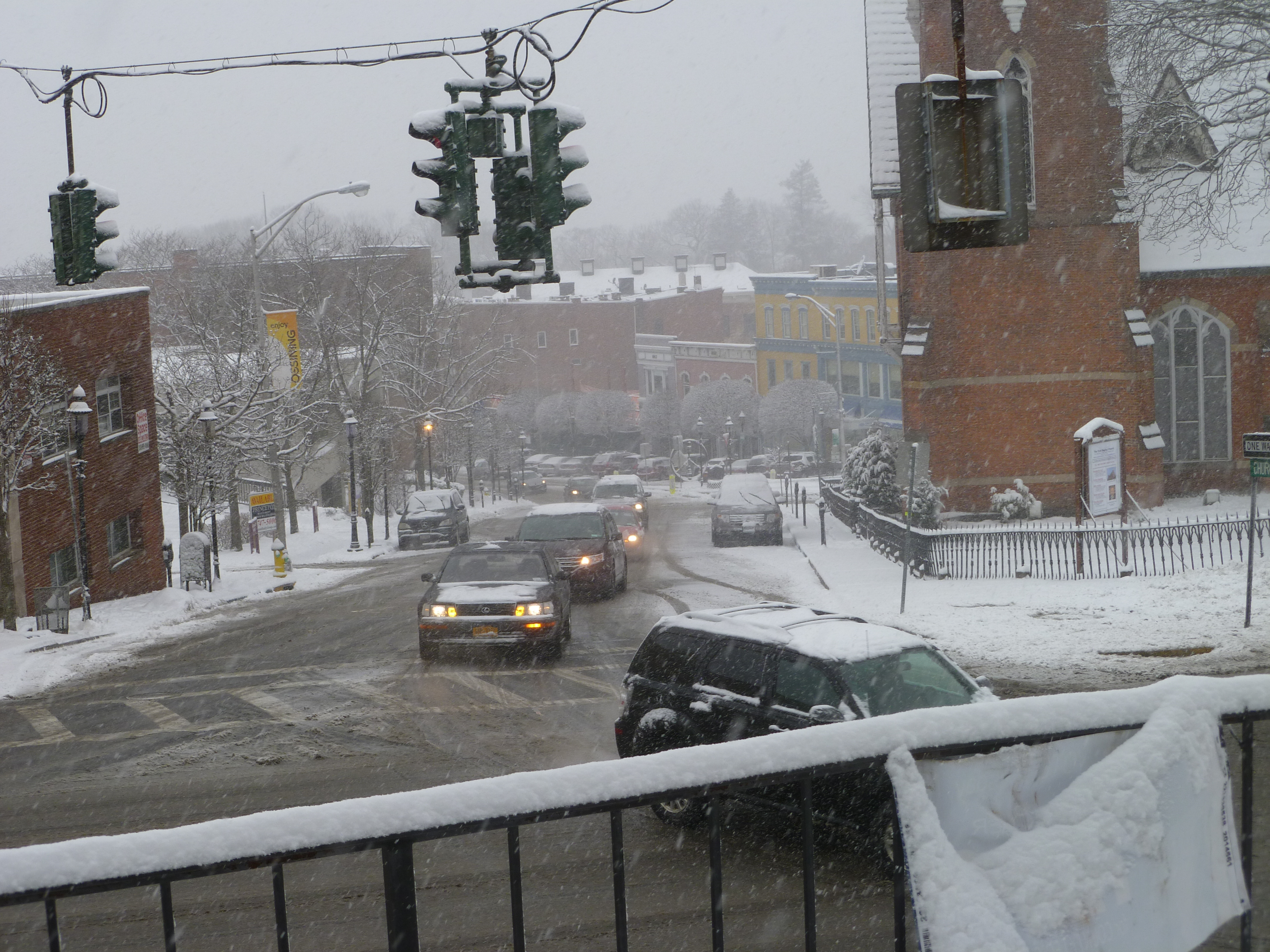 Snow-covered scene in downtown Ossining late Monday morning.