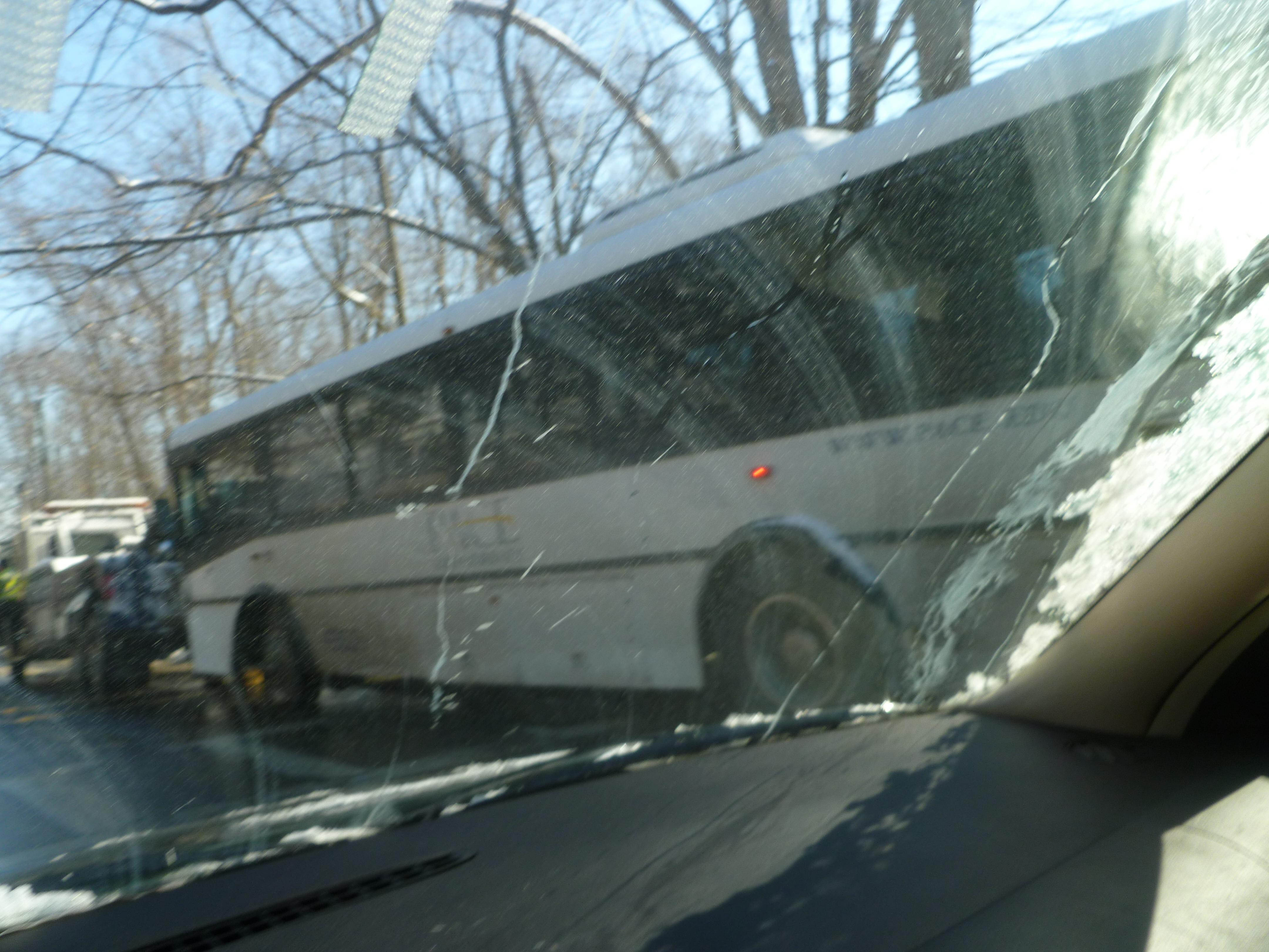 Mount Pleasant Police at the scene of an accident involving a Pace University bus. One person sustained an injury.