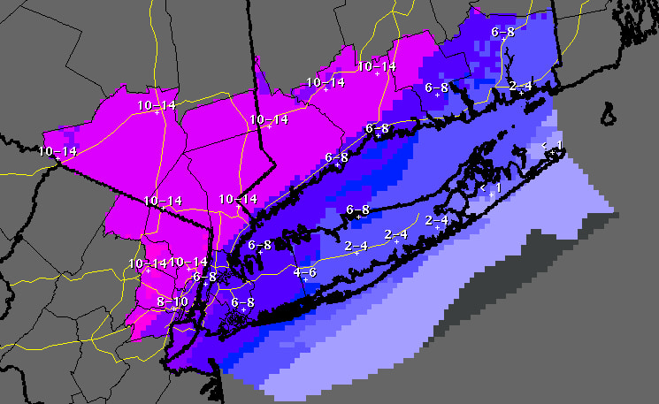 Updated projected snowfall totals through Friday, Feb. 14 at 7 a.m.