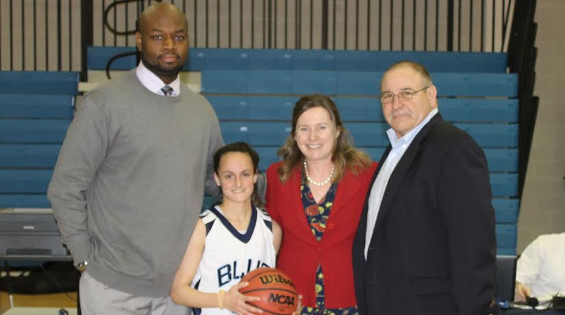 College of New Rochelle Head Coach Kashif Hammed, Yonkers' Alyssa Pechin, Vice President for Student Services Dr. Colette Geary, Director of Athletics Harold Crocker.