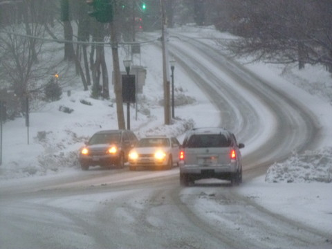 Local roads like Route 9 in Westchester County were slippery during Tuesday's early morning rush hours.