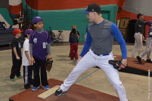 Players from the Monroe College Mustangs held a clinic to help prepare the New Rochelle Thunder youth travel baseball team for its upcoming season.