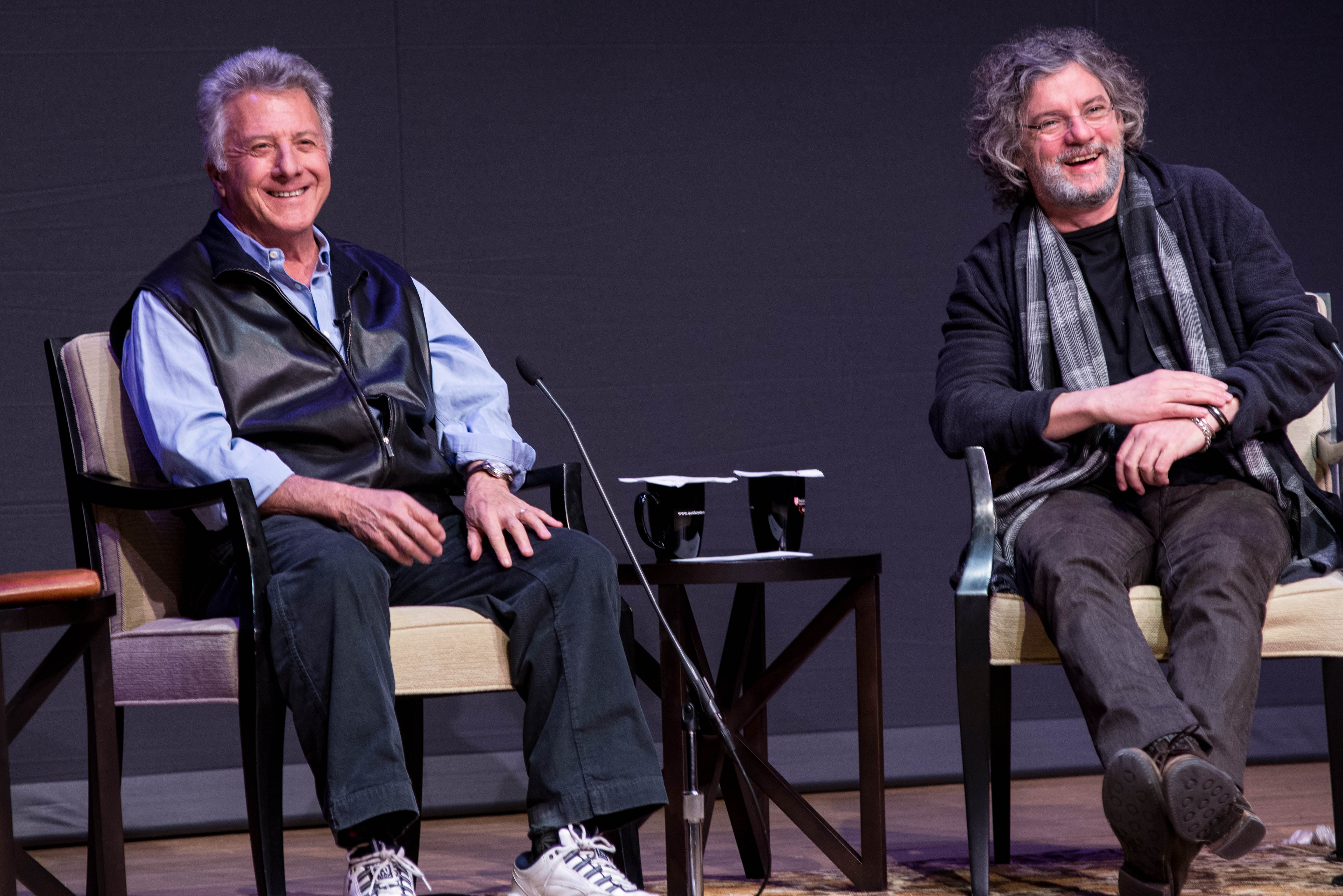 Academy Award-winning actor Dustin Hoffman and director François Girard at a talk at Fairfield University Thursday night.