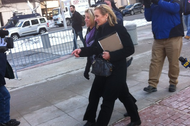 Kerry Kennedy, accompanied by her sister Rory, exits the Westchester County Courthouse in White Plains on Wednesday.