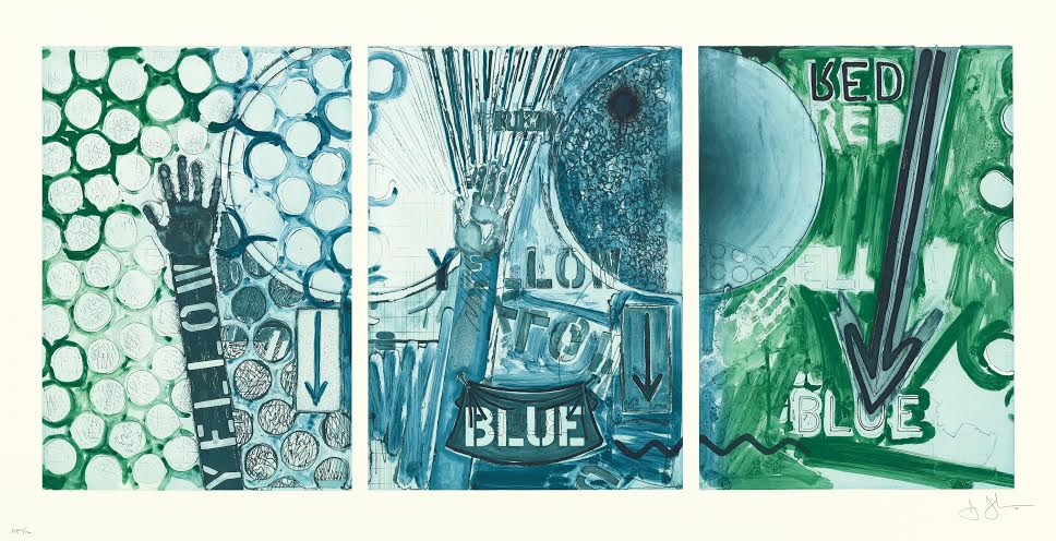 Some of the artwork from the collaboration of artists Jasper Johns and John Lund.
