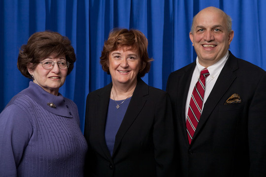Mayor Anne McAndrews, center, and Trustees Marlene Kolbert, left, and Peter Fanelli, right, are running for re-election.