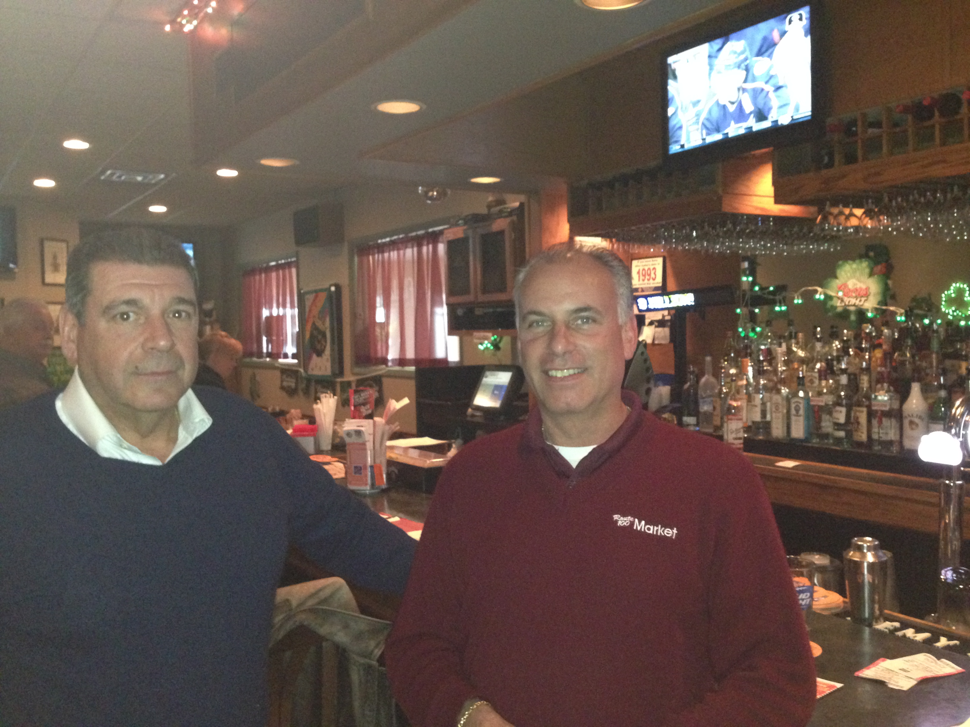 Joe Ponsrock (left) and Paul Sussmann (right) talk about the Metro-North explosion at Somerfields in Somers.