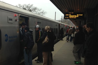 Passengers at the Metro-North train station in White Plains on Wednesday afternoon.