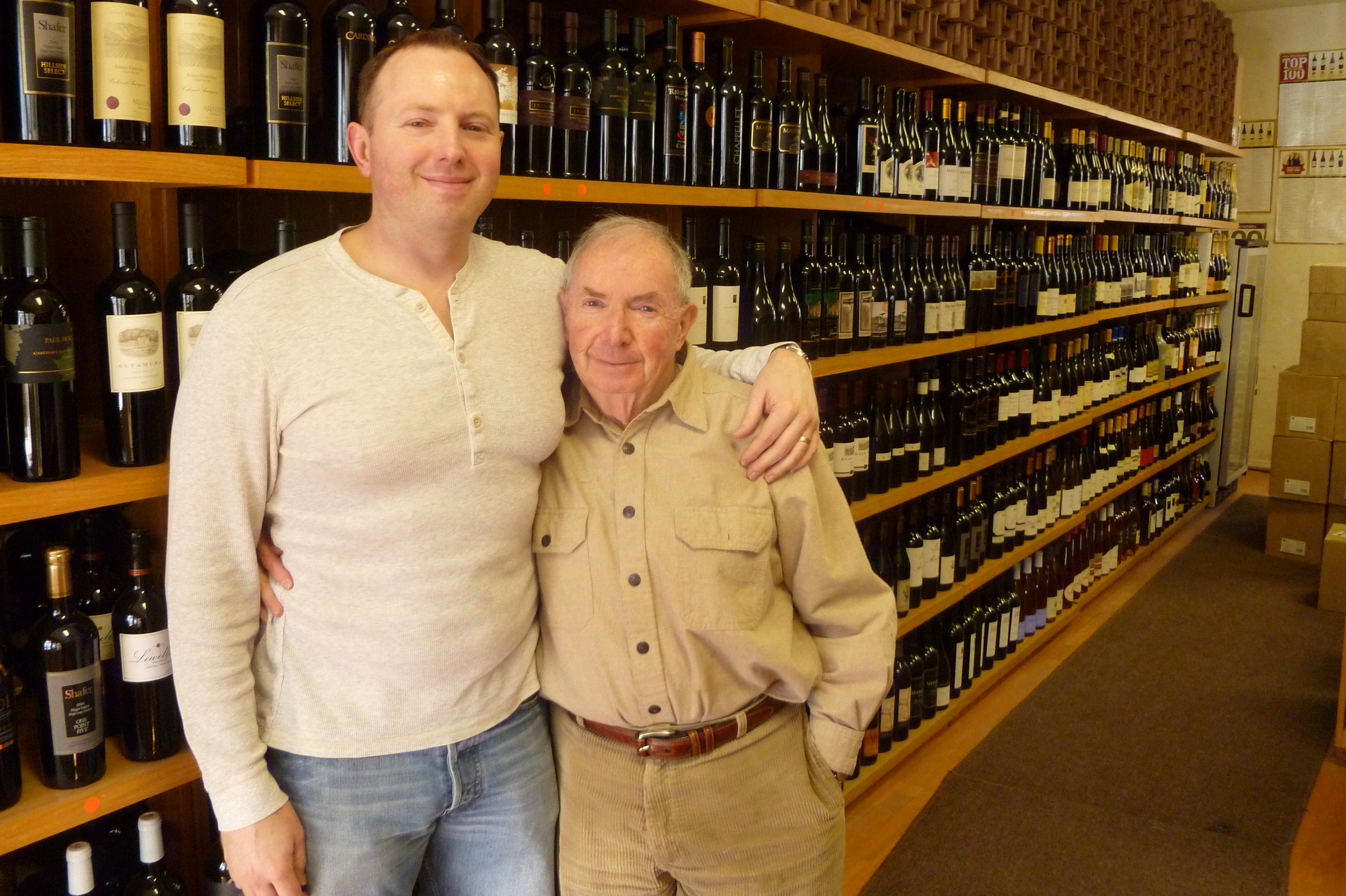 Scott Wunderlich, left, and his father, Arthur, own Bedford Wine Merchants.