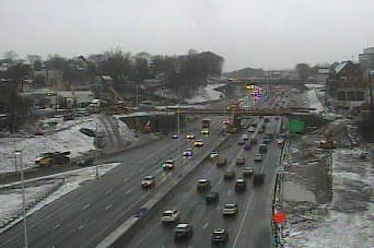 A look at conditions on I-95 at Stuart Avenue at 8:15 a.m. Monday.