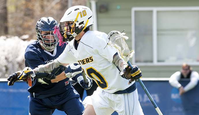 Pace University men's lacrosse senior Matt Gebhardt totaled four points in the game against St. Anselm.