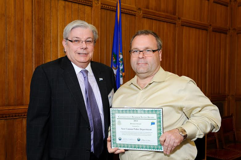 The New Canaan Police Department was recently recognized by the Connecticut Department of Energy and Environmental Protection for its efforts in reducing electricity consumption.