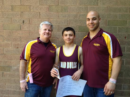 Norwalk wrestler Jeff Cocchia finished third at the Eastern Youth Nationals last weekend in Maryland. He is pictured with coaches Art Schad, left, and Jason Singer.
