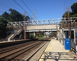 Westbound trains could not stop Monday night in Riverside due to downed trees.