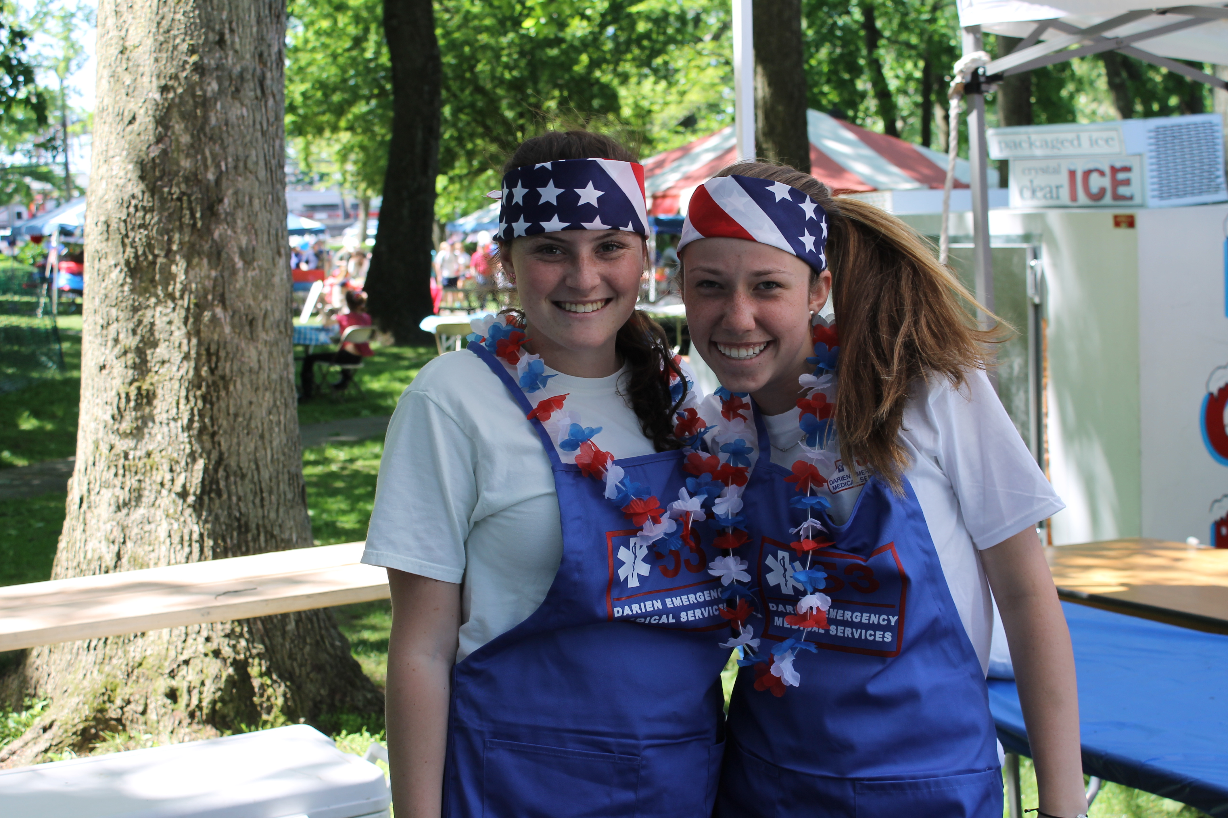 Darien EMS Post 53 will host the annual Food Fair on Memorial Day. Pictured, from left, are Post 53 members Bridget Hannigan and Kaleigh Conway.
