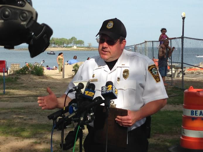 Norwalk Police Lt. Paul Resnick answers questions Monday at Calf Pasture Beach.