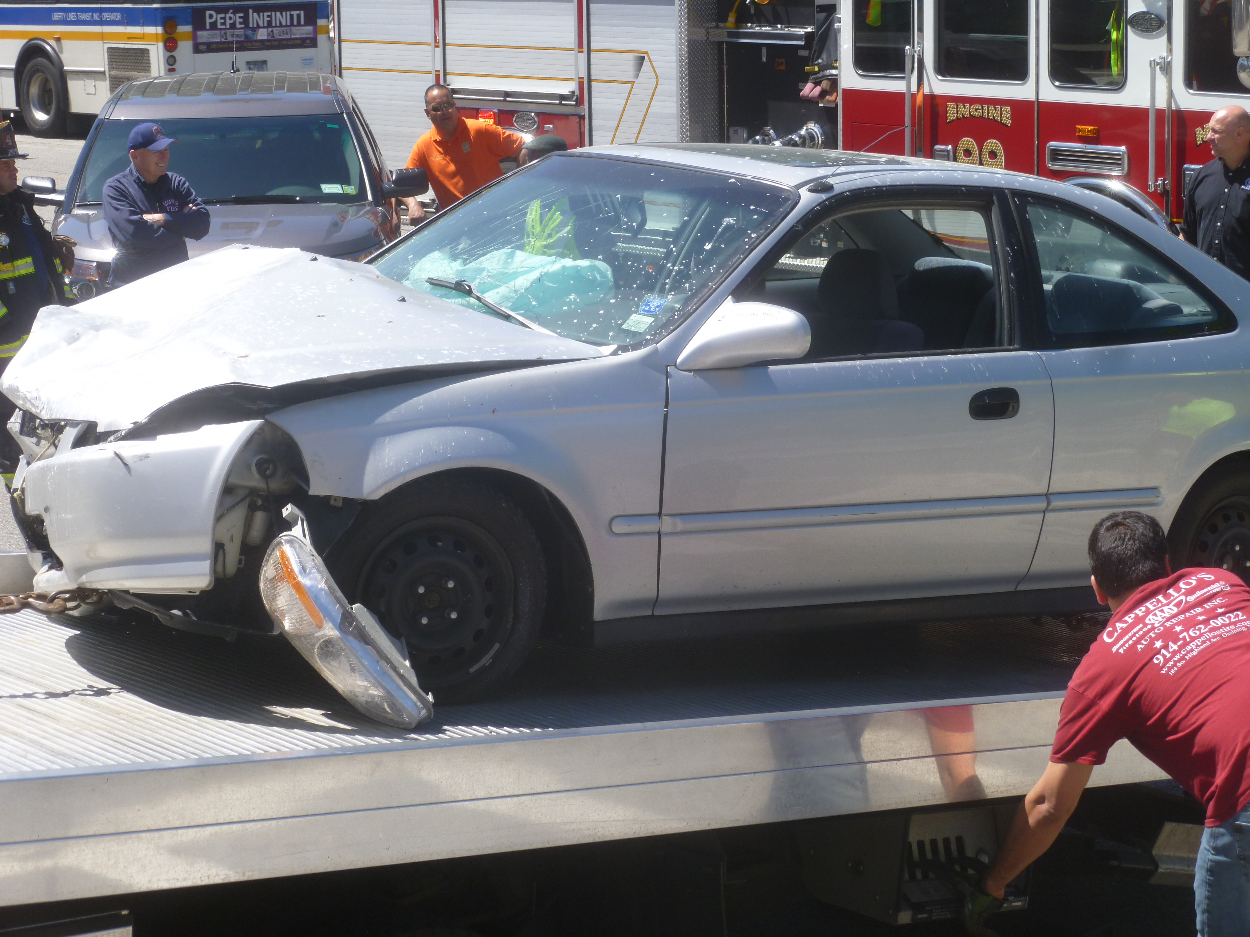 A vehicle involved in an accident on Route 9 in Ossining on Thursday, May 29, is towed away.