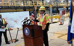 Gov. Dannel Malloy outlines improvements in the New Haven rail yard on Thursday, June 5.