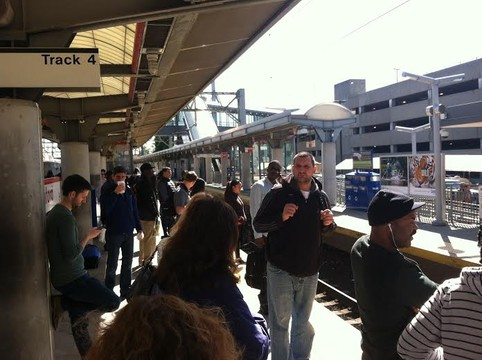 A crowd of commuters waits for a train recently at the Stamford train station.