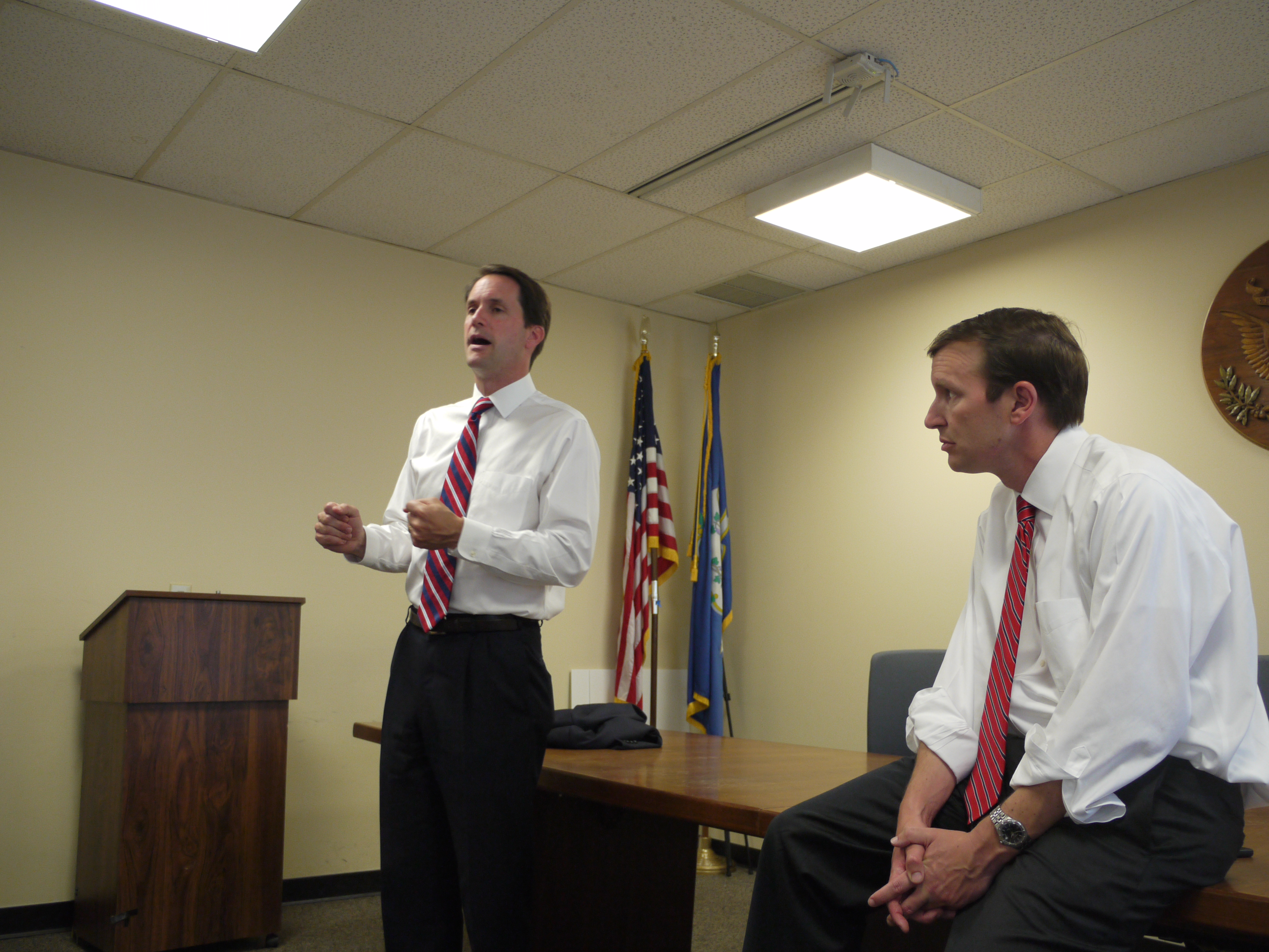 Congressman Jim Himes and U.S. Senator Chris Murphy spoke Monday about their concerns for the future of corporate identities with the recent Supreme Court decision.