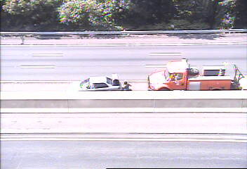 A two-vehicle accident blocks the left lane of I-95 north in Westport.