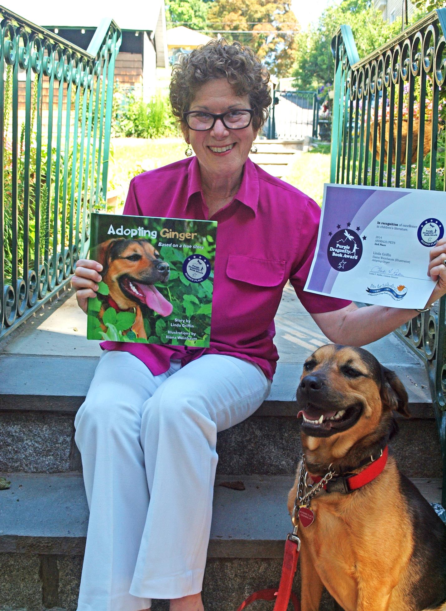 Linda Griffin poses with Ginger, the subject of her award winning book.