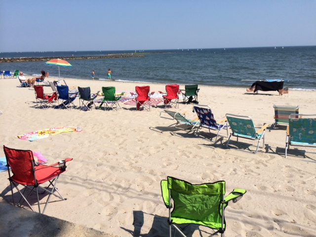 Chairs were already set up at Compo Beach in Westport at 4:30 for the annual Fourth of July fireworks.