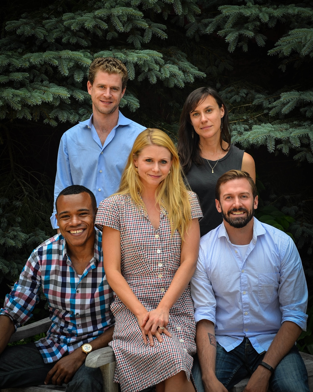 """The cast of Westport Country Playhouse's """"Nora."""" From left, seated, LeRoy McClain, Liv Rooth as Nora, Shawn Fagan; standing, Lucas Hall, Stephanie Janssen."""