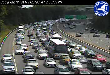 Stop-and-go traffic on the I-87 span in Tarrytown after a multi-vehicle accident Sunday afternoon.
