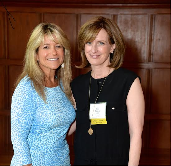 Anne Sweeney, right, received the Angela Merici Medal from Judith Huntington, left, president of The College of New Rochelle.