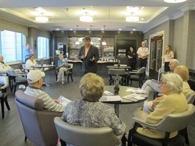 New York State Sen. George Latimer takes questions from residents at The Bristal At Armonk.