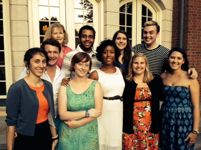 Top Row, from left: Board of trustees member Carol Seldin, with interns Tajh Oates, Erin Focone, JT Murtagh.