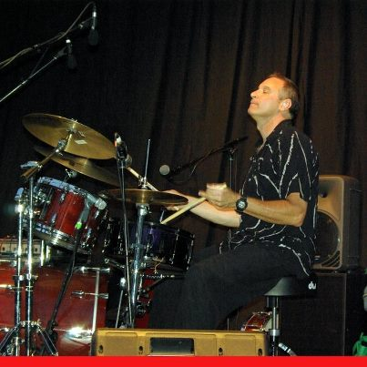 Andy Polay is on drums for the Andy Polay Trio,