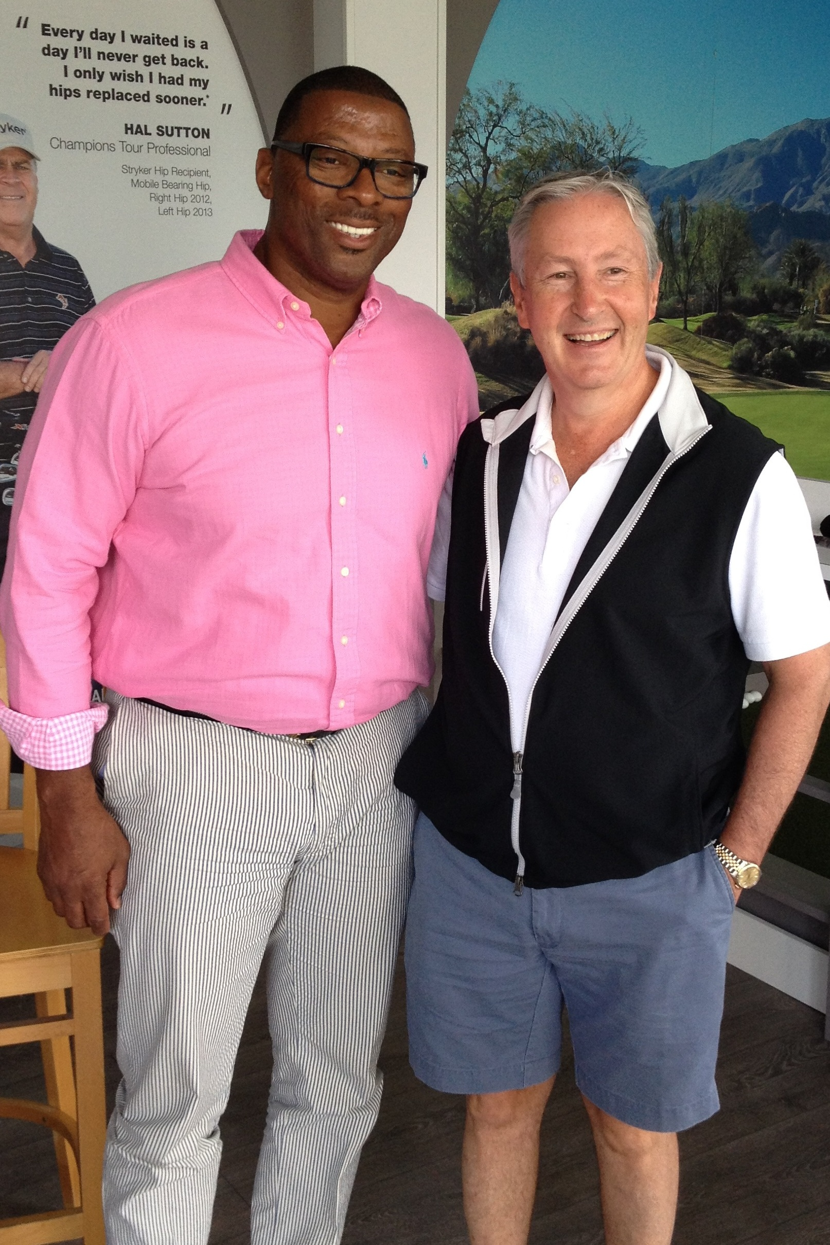 Giants legend Carl Banks, left, meets Harrison physician Steven Zelicof last week at a PGA Tour event in New Jersey.