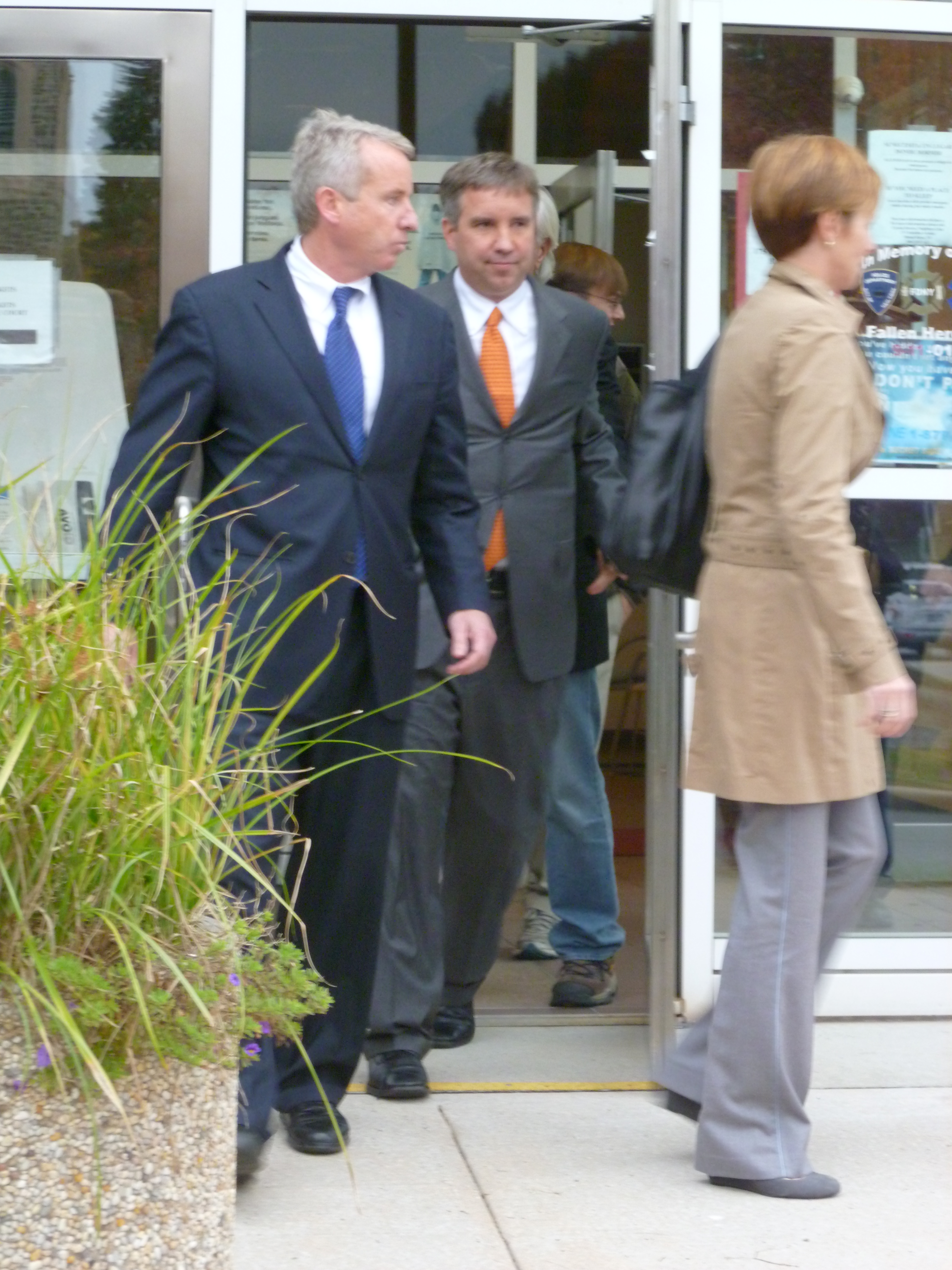 Douglas Kennedy leaves Mount Kisco Village Court on the fourth day of his trial. The defense called emergency room physician Dr. Timothy Haydock as a witness Thursday.