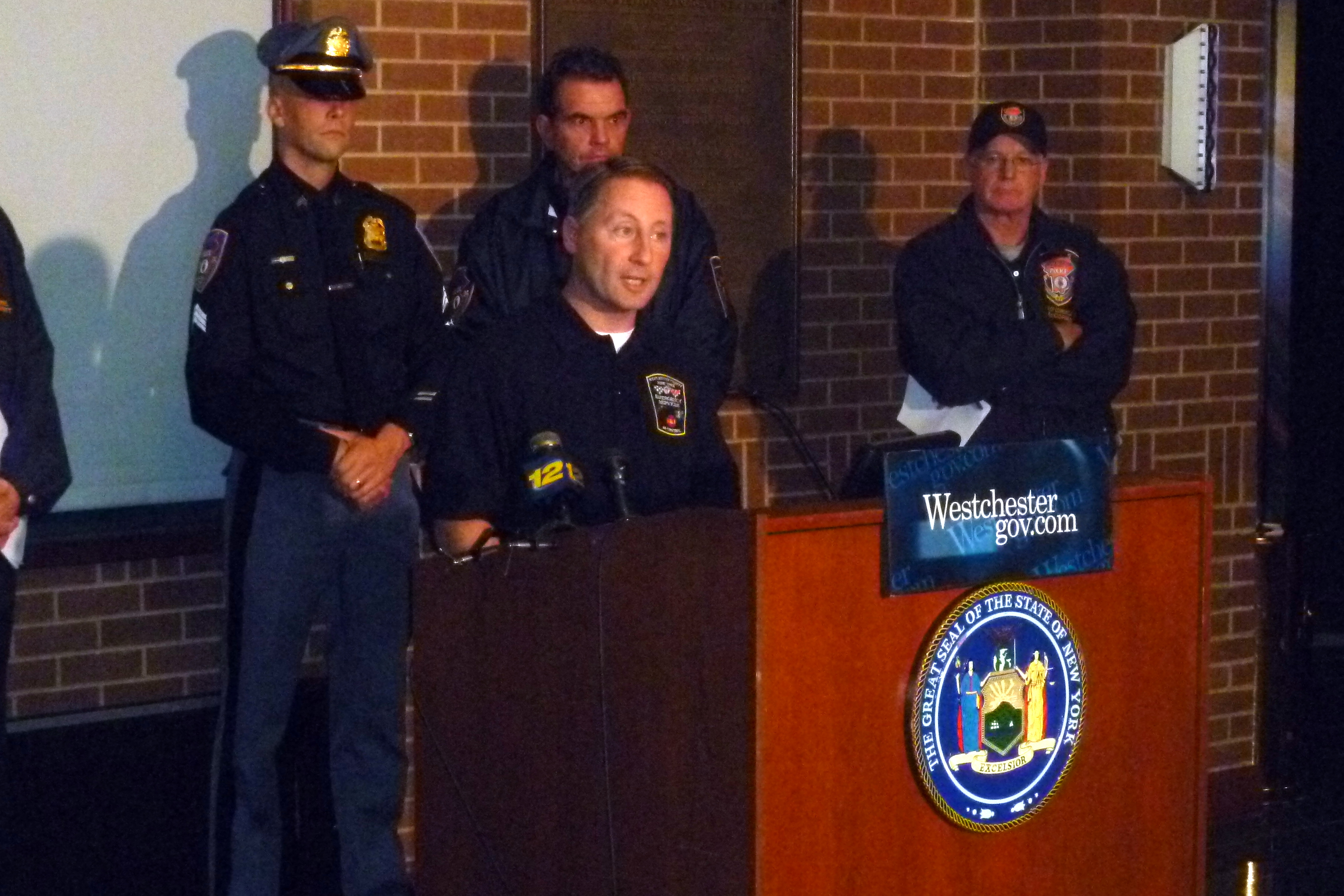 Westchester County Executive Rob Astorino urged county residents to use common sense and stay indoors as much as possible during Hurricane Sandy.