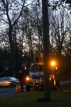 A utility truck works on power restoration after Hurricane Sandy hit Fairfield County last week.