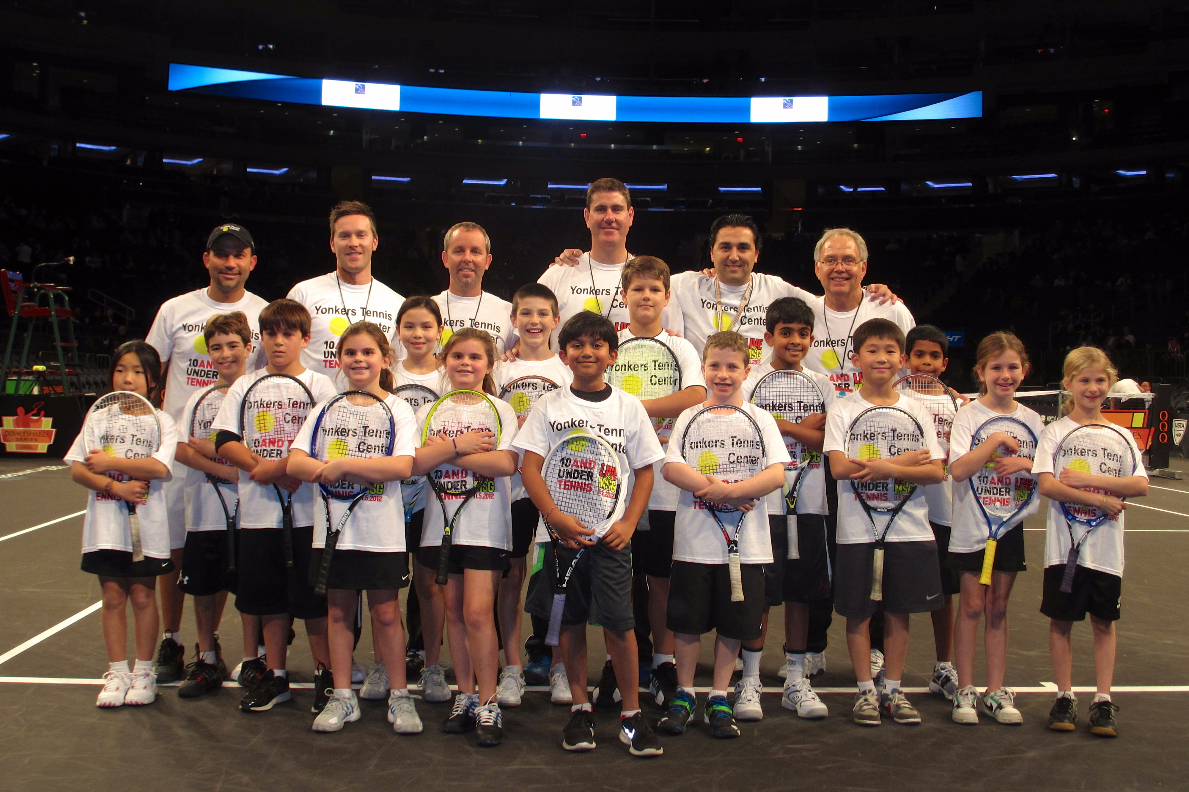 Young players from the Yonkers Tennis Center participated in a showcase at Madison Square Garden on Monday.