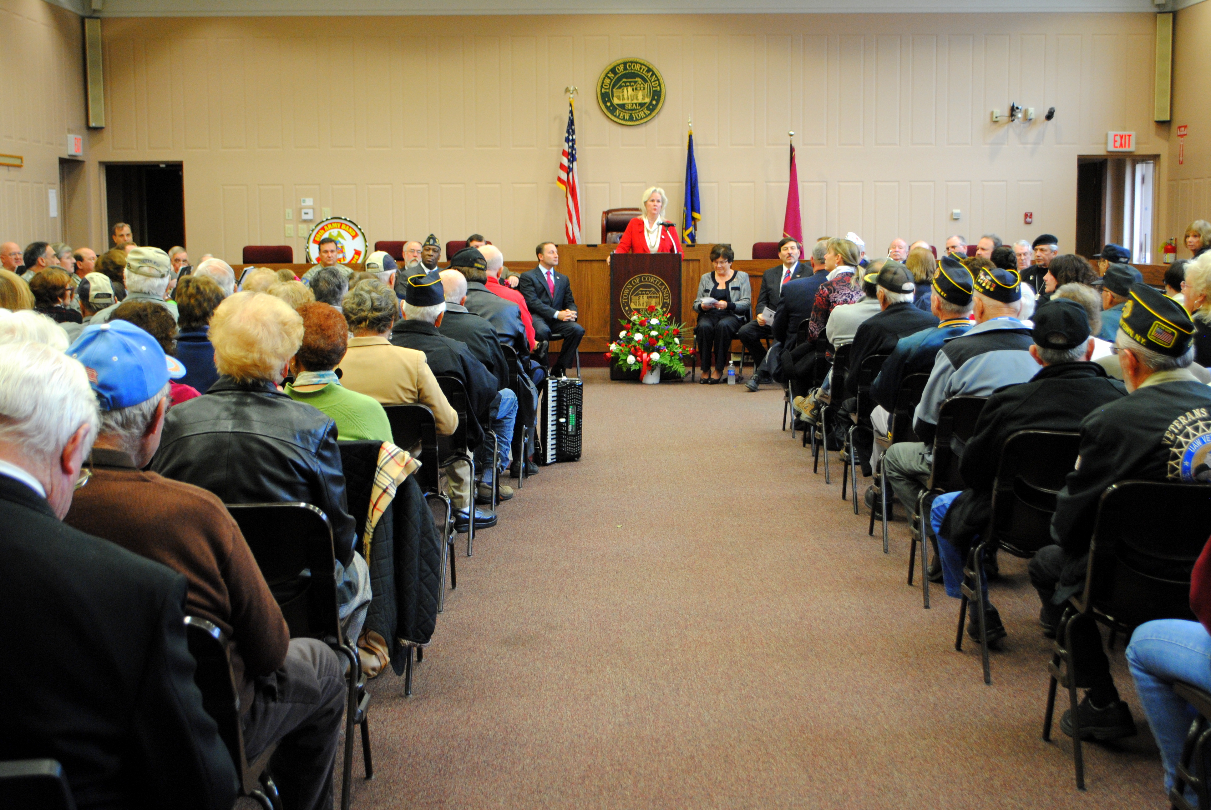 More than 150 people packed Cortlandt Town Hall on Monday, in observance of Veterans Day.
