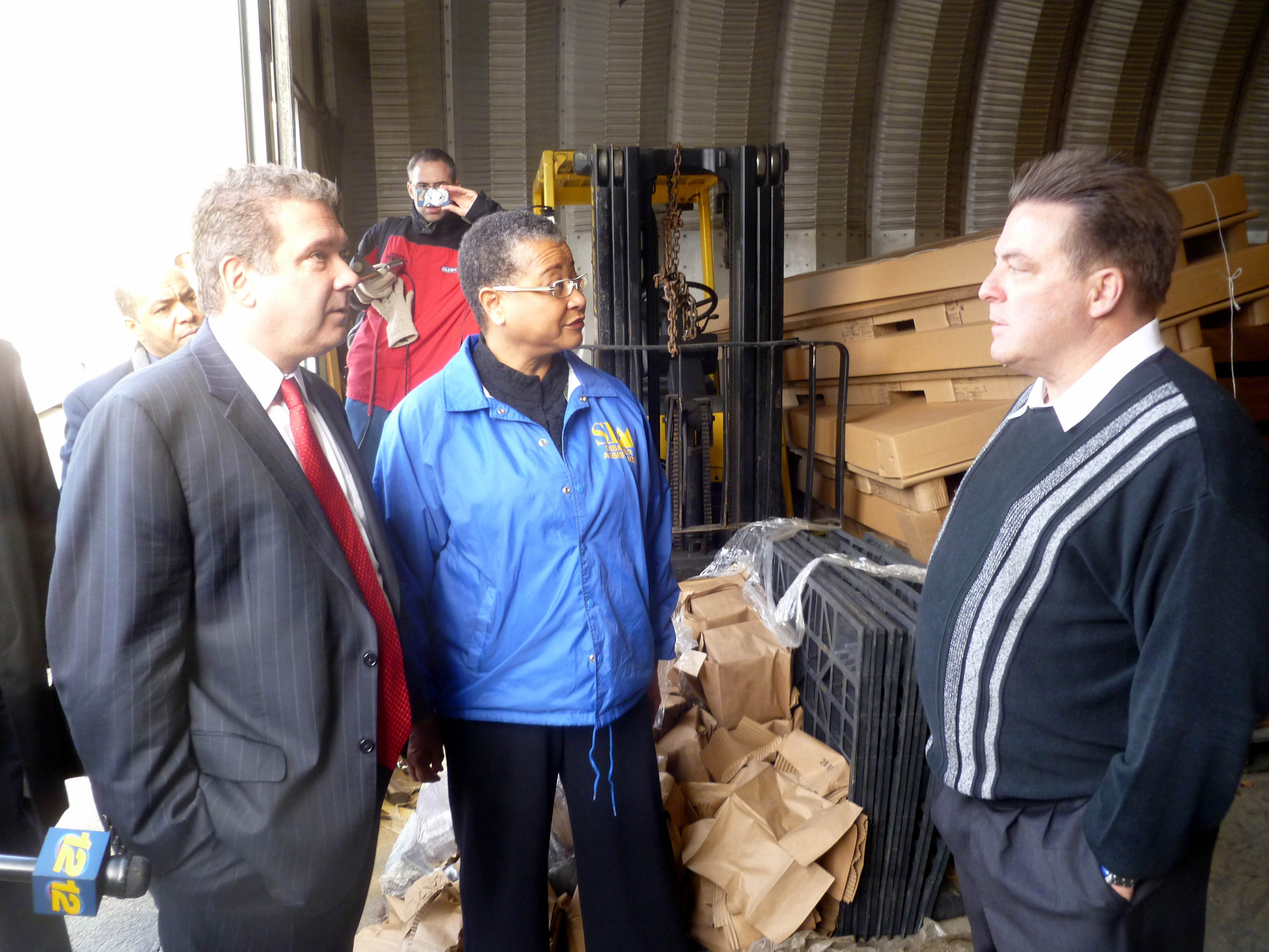 Marie Johns, deputy administrator of the U.S. Small Business Administration, toured Altman Lighting Wednesday with Yonkers Mayor Mike Spano (left) and Robert Altman, president of the lighting company (right).