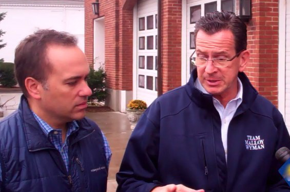 Gov. Dannel Malloy, right, and Greenwich First Selectman Peter Tesei, seen here the morning after Hurricane Sandy, commented on the grant given to the town in the wake of the storm.