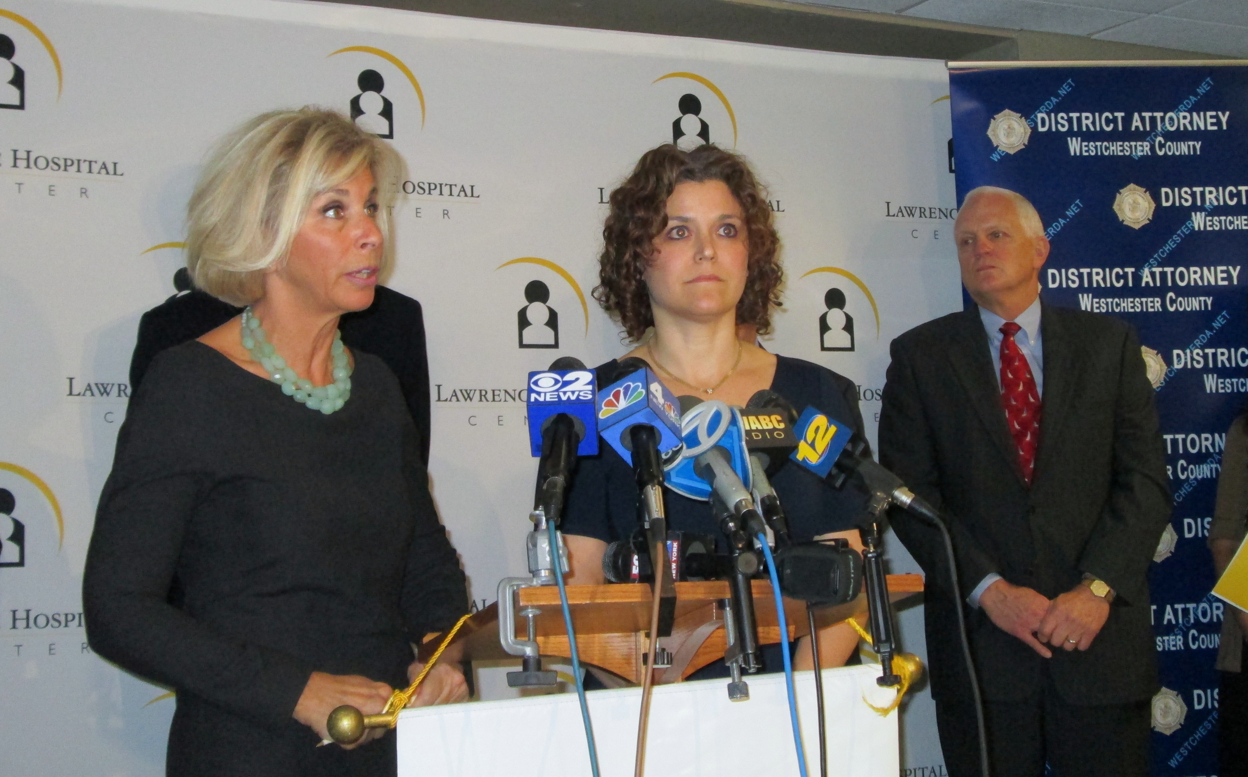 Janet DiFiore (left), Jennifer Canter (middle) and President of Lawrence Hospital Center Edward Dinan, worked together on a campaign to educate parents about safe sleeping habits for infants.