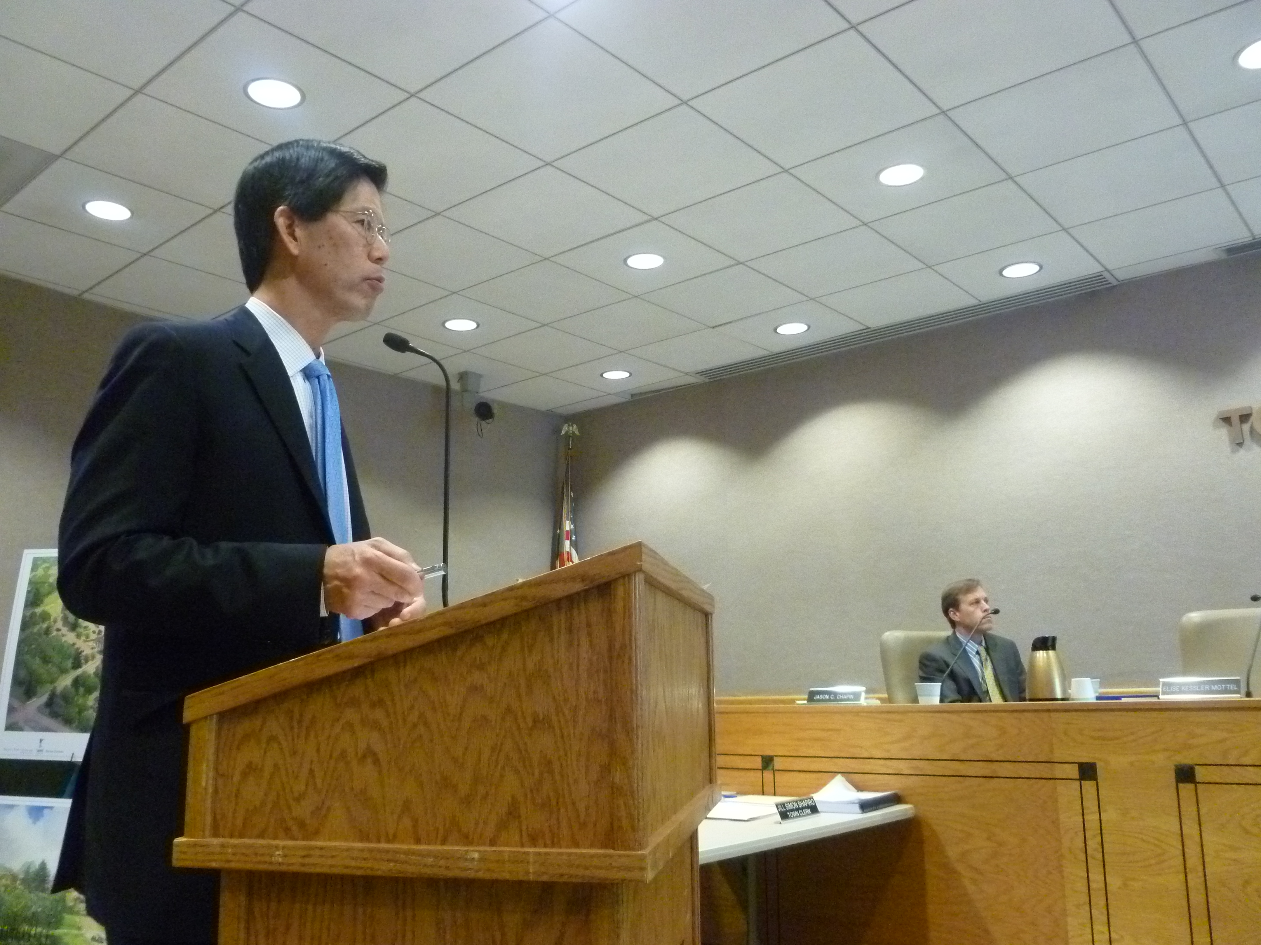 Andrew Tung, a planning and engineering consultant for the planned new uses on the site, on Tuesday presented the company's proposal for a retail center at Chappaqua Crossing to the New Castle Planning Board.