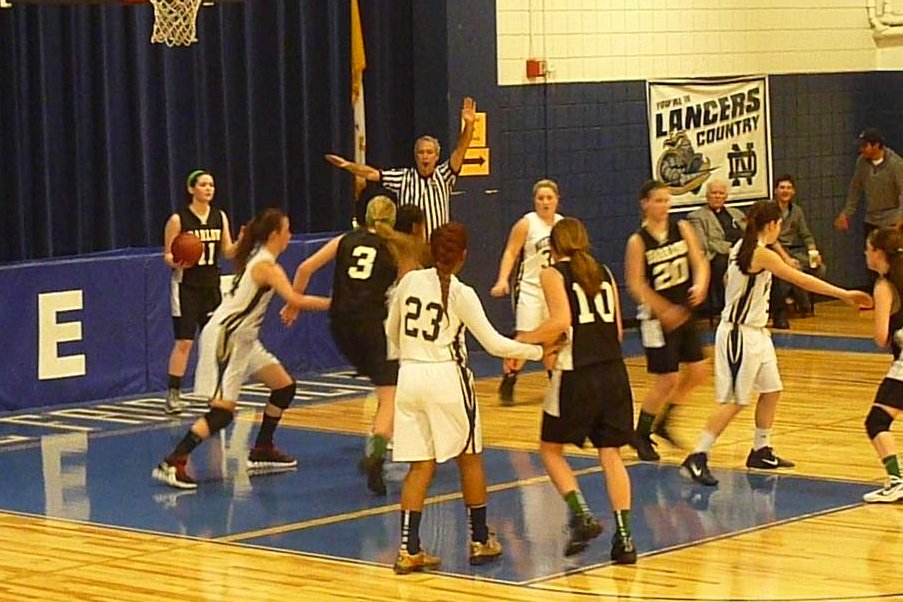 Victoria Shea looks to make an inbounds pass for Joel Barlow.