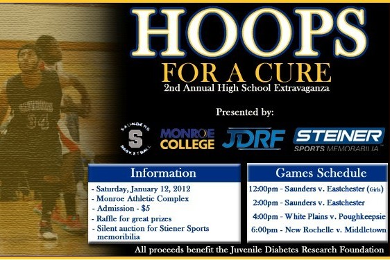 "This year's ""Hoops For A Cure"" at Monroe College features one girls' and three boys' basketball games."