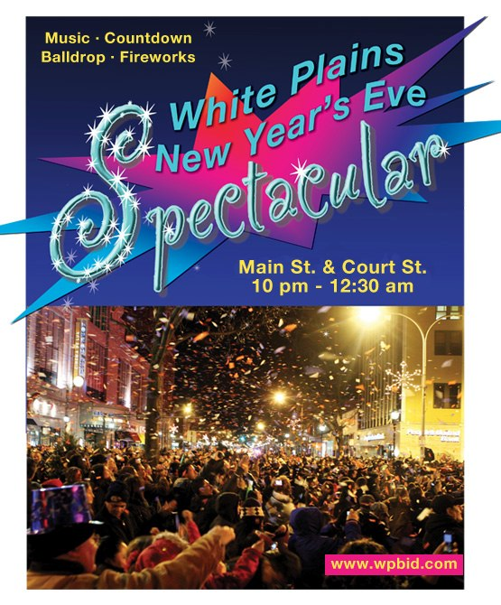 The 14th annual White Plains New Year's Spectacular will feature a ball drop, fireworks, confetti, music and a free ride home program.