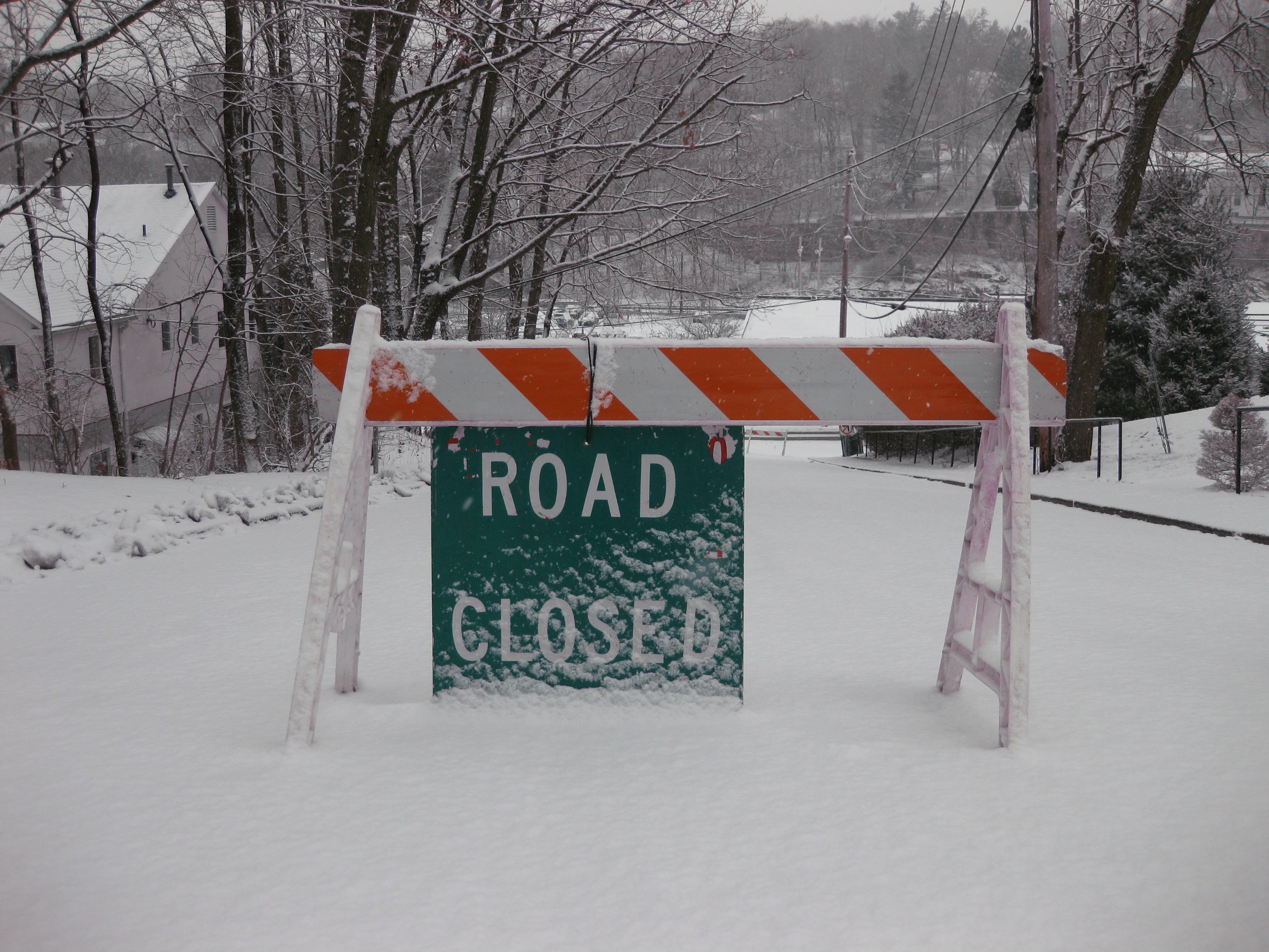 A hilly road leading into Mount Kisco's downtown area has already been shut down.