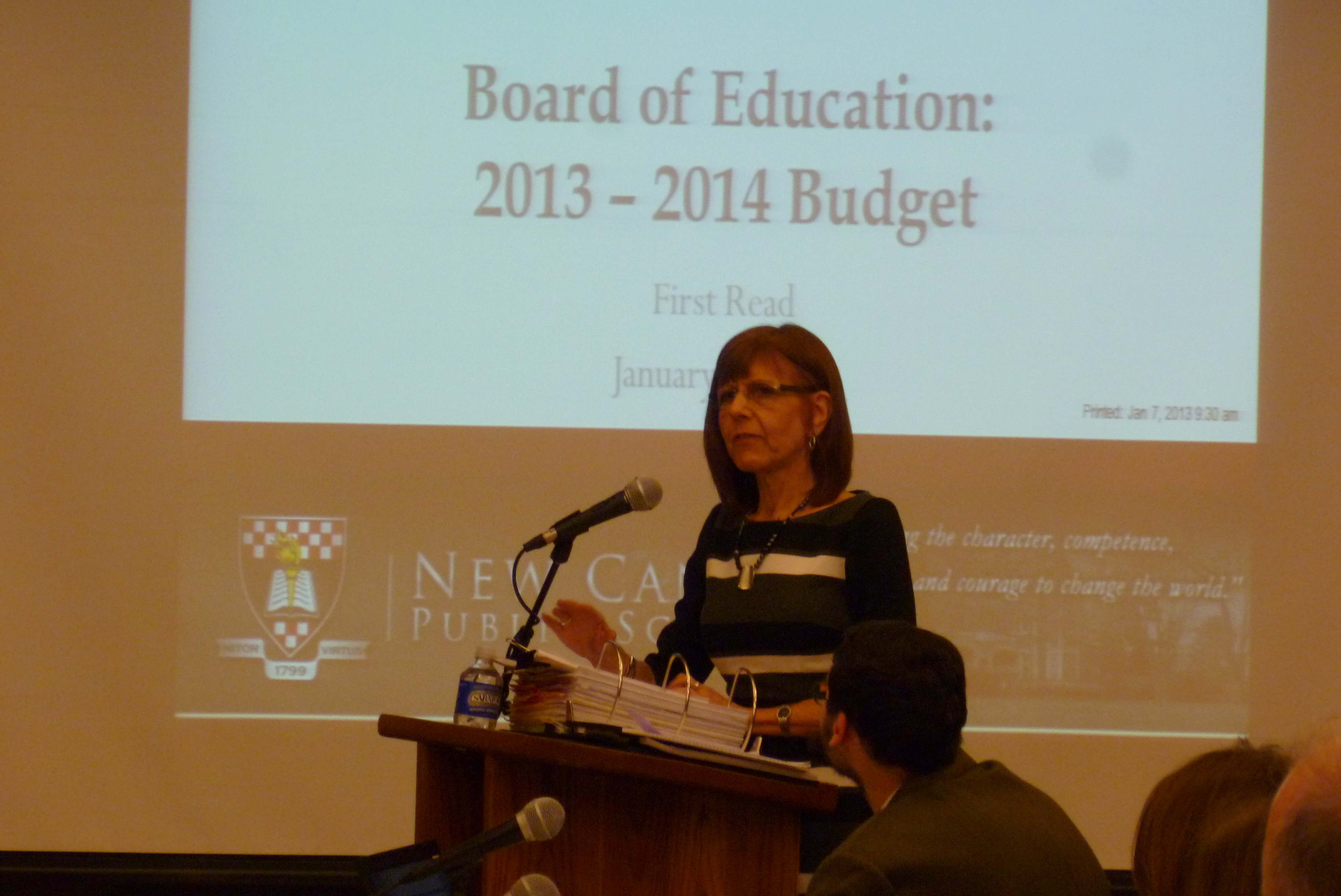 New Canaan Schools Superintendent Mary Kolek presents the proposed 2013-14 budget during Monday's Board of Education meeting.