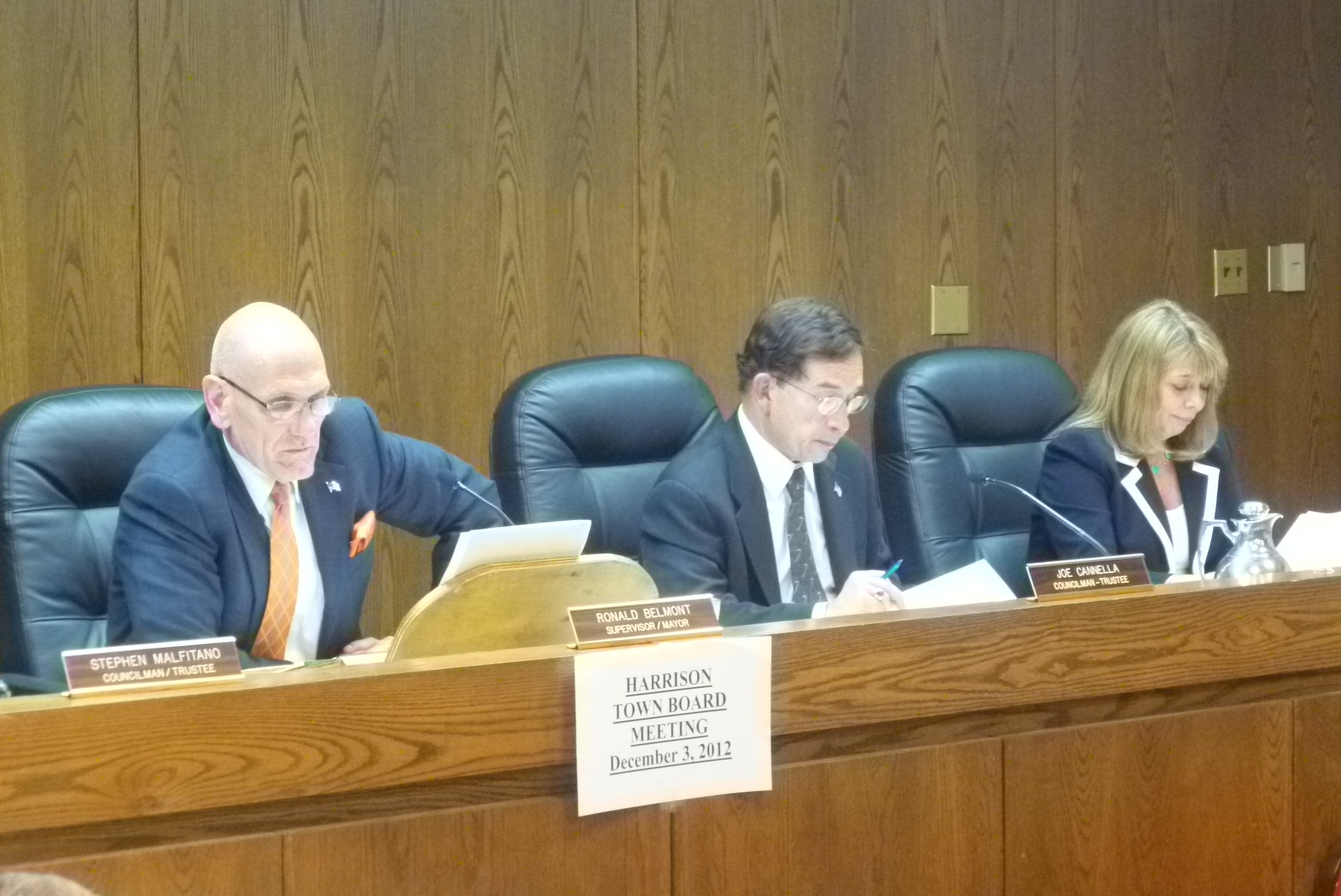 The Town Board of Harrison meets  at 7:30 p.m. Thursday.